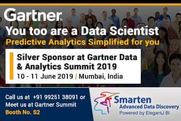 Smarten Advanced Analytics is a Silver Sponsor for Gartner Data & Analytics Summit, June 2019 in Mumbai, India